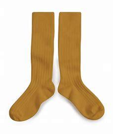 chaussettes hautes collegien moutarde