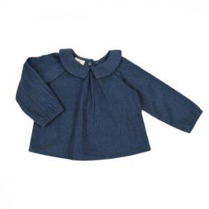 blouse octave velours milleraies bleu orage lililotte